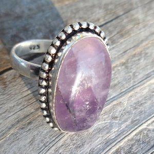 Genuine Amethyst Gemstone Silver 925 Ring Size 7